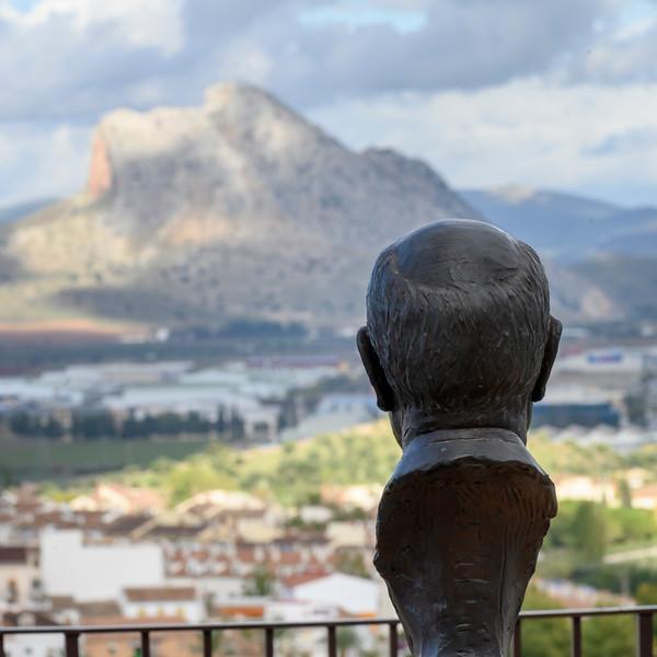 Statue of an archaeologist professor Michael Hoiskin, Antequera, M�laga, Spain