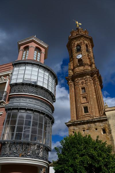Clock tower of San Sebastian Church against blue sky, Antequera, M�laga, Spain