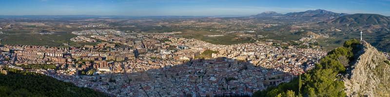 Aerial view of city, Jaen, Jaen Province, Spain