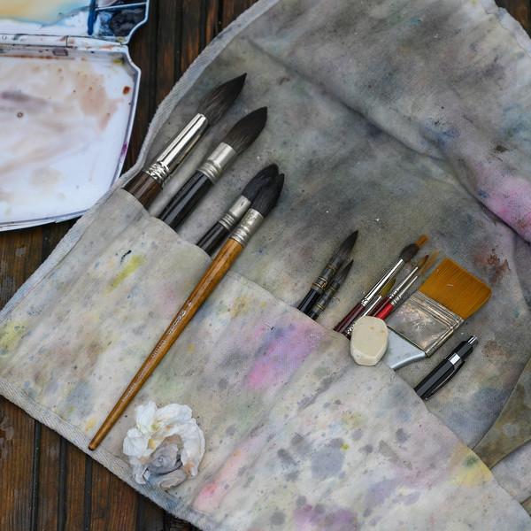 Paintbrush arrange in order in cloth pouches, Cuenca, Cuenca Province, Castilla La Mancha, Spain