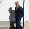 Senior man walking on the street, Algatocin, Malaga, Andalusia, Spain