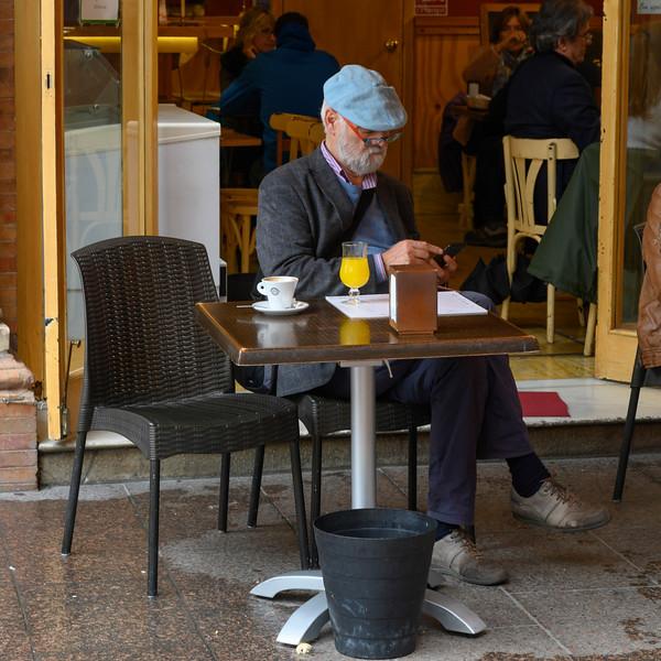 Senior man at caf�, Seville, Seville Province, Spain