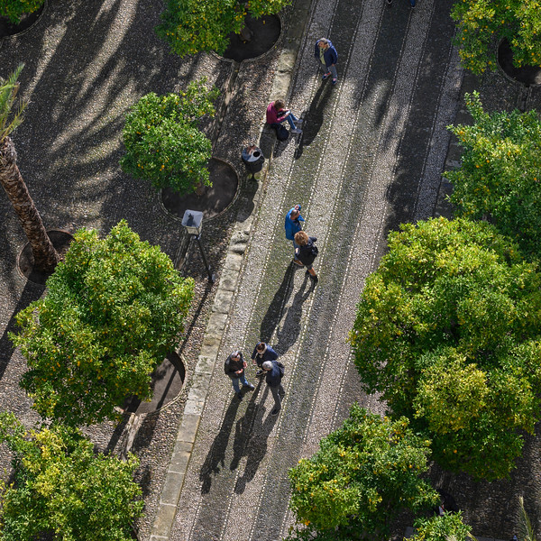 Elevated view of people in a park, Spain