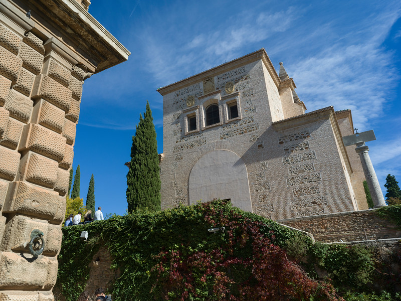Tourists outside Alhambra Palace, Alhambra, Granada, Spain