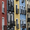 Windows and balconies of apartments, Cuenca, Cuenca Province, Castilla La Mancha, Spain