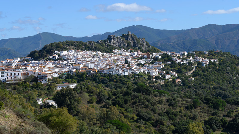 Aerial view of houses in a town, Algatocin, Malaga Province, Spain