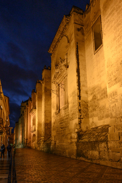 Fortified walls along the alley of historic town at night, Cordoba, Andalusia, Spain