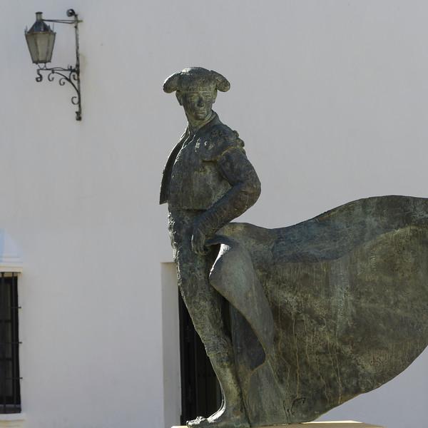 Bullfighter Cayetano statue in Ronda, Malaga Province, Spain