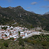 Aerial view of houses in a town, Benadalid, Malaga Province, Spain
