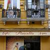 Fa�ade of caf�, Seville, Seville Province, Spain