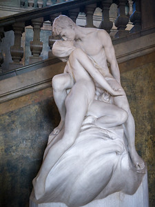Statue of kissing couple in Royal Palace, Slottskyrkan, Gamla Stan, Stockholm, Sweden