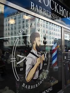 Close-up of barber shop window, Stockholm, Sweden