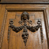 Carving details on wooden door, Strandvagen, Ostermalm, Stockholm, Sweden