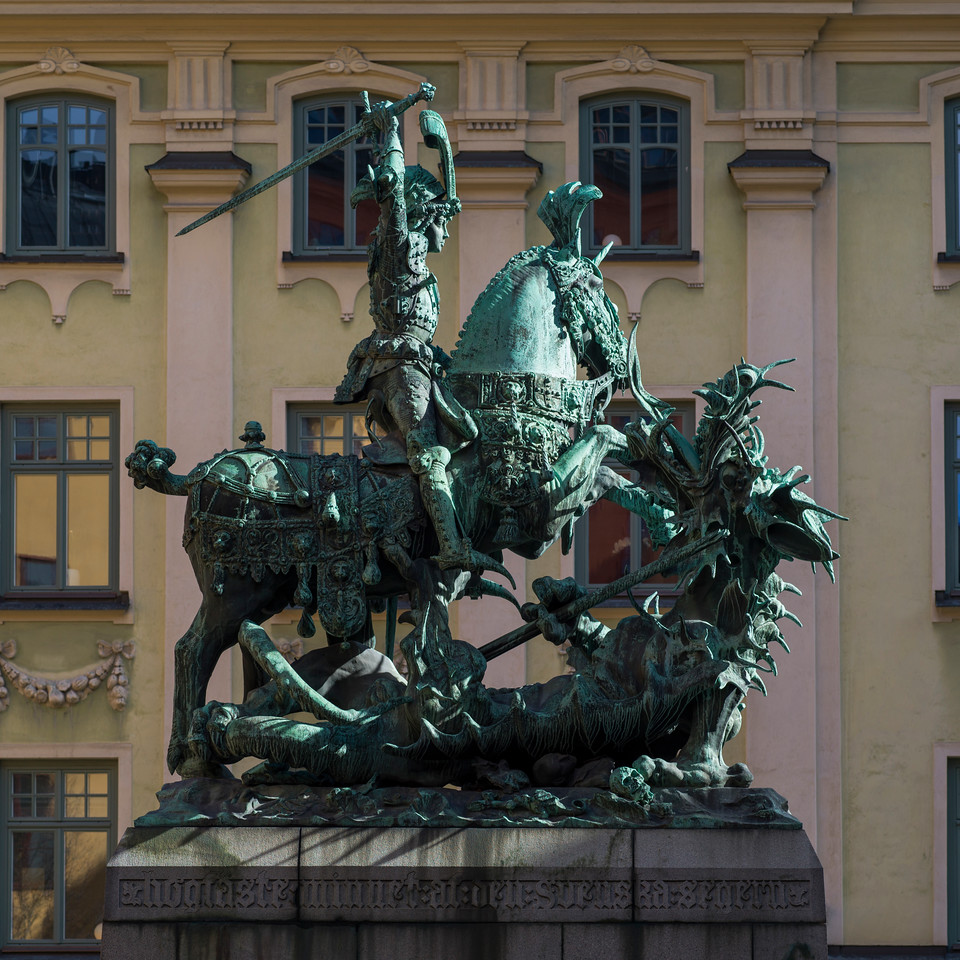 Statue of Saint George and the Dragon, Gamla Stan, Stockholm, Sweden