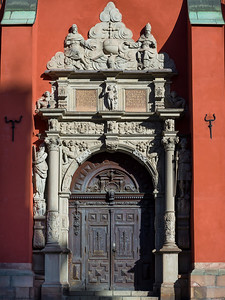 Entrance of St James Church, Stockholm, Sweden
