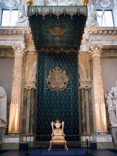 Throne in Royal Palace, Slottskyrkan, Gamla Stan, Stockholm, Sweden