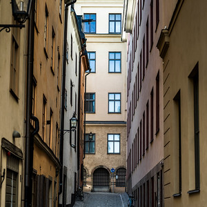 View of narrow alley, Gamla Stan, Stockholm, Sweden