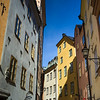 Low angle view of buildings in old town, Gamla Stan, Stockholm, Sweden