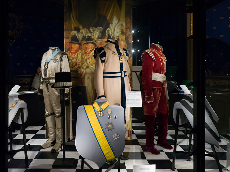 Royal dress and medals in exhibition at Royal Palace, Slottskyrkan, Stockholm, Sweden