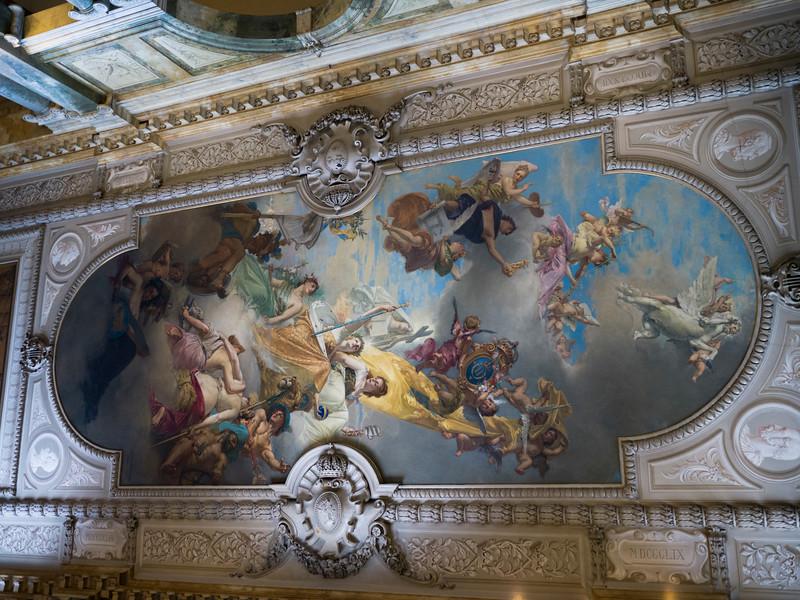 Mural details of ceilings depicting biblical events, Storkyrkan, Stockholm, Sweden