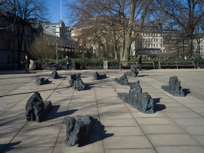 Abstract sculptures in park, Kungstradgarden, Stockholm, Sweden
