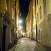 View of street at night, Stockholm, Sweden