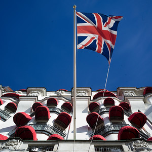 Low angle view of British flag on hotel building, Ostermalm District, Stockholm, Sweden,
