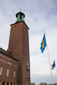 Low angle view of bell tower of Stockholm City Hall, Stockholm, Sweden