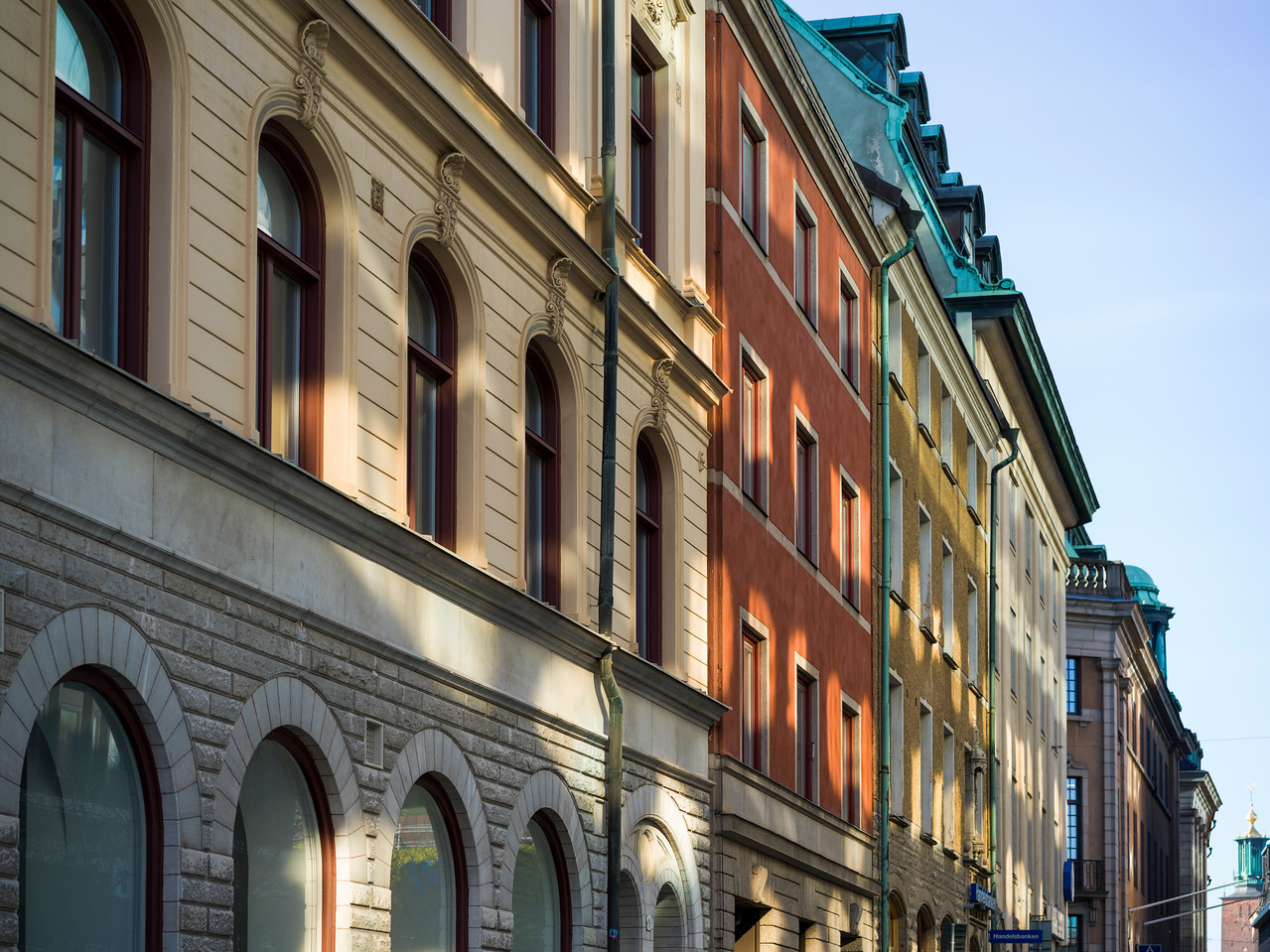 Faade of traditional buildings in city, Stockholm, Sweden