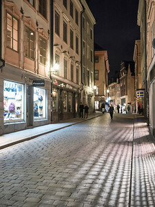 Street scene at night, Stockholm, Sweden
