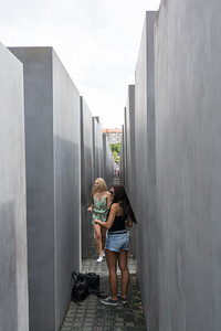 BERLIN, GERMANY - Memorial to the Murdered Jews of Europe (Holocaust Memorial) - 2711 concrete blocks whit different highs and p