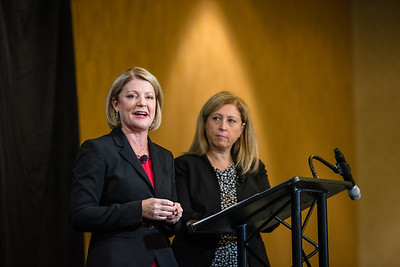Melissa Hooley, lf, and Lisa Cines are seen at the Women's Global Leadership Summit, on Thursday, November 12th, 2015 in San Francisco, CA.Tomas Ovalle/AP Images for American Institute of Certified Public AccountantsPublic Accountants