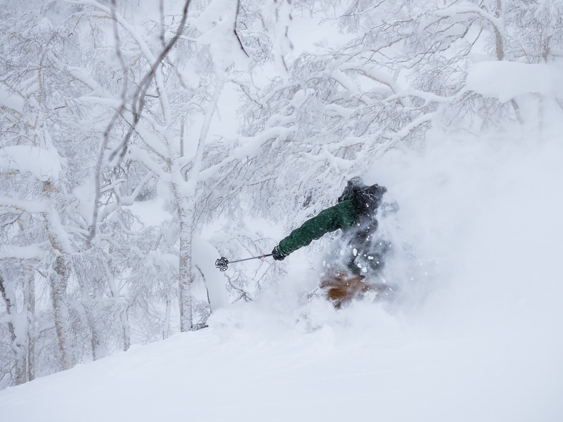 Julien Levesque bouliane in a deep turn in Asahidake