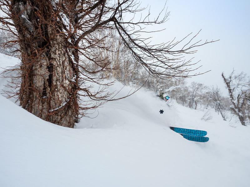 Deep turn for Julien Levesque in the Yubari Mountain range