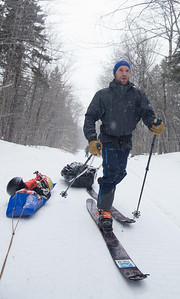 Skier : Emmanuel Demers  Location: Baxter Park Road. The long 17 miles approach