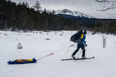 Skier : Vincent Lebrun Location: Baxter Park Road. The long 17 miles approach