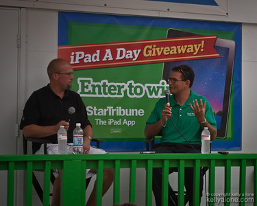 "Michael Russo of the Star Tribune talks Minnesota Wild hockey with rookie coach Mike Yeo at the Star Tribune ""Porch"" booth."