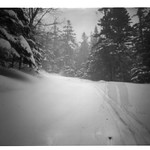 The Pinhole Project                           Location : Mont Washington, N.H., Tuckerman ravine. Camera : Ilford  Herman Pinhole camera, B&W film. I wanted to experience pinhole photo, a really slow process, with an action sport, skiing.  I went for a one week trip with ten sheets of film to capture the skiing done in the Tuckerman. With an aperture of approximately f/213, you have to get creative in order to make rich and inspiring pictures.The result are realy unique. The ghost skinner