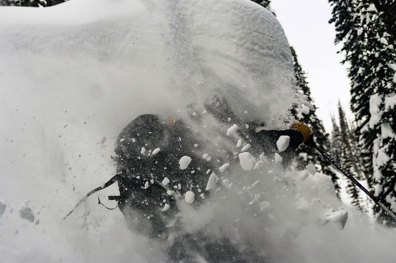 Skier ; Alexandre Cauchon Location :Fairy Meadow Hut .