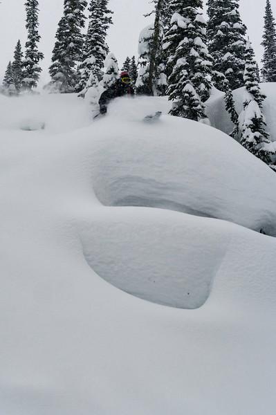 Skier: WIlliam Viens Location : Fairy Meadow Hut Pilow line.