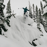 Skier: Emmanuel Demers. Location: Houdini Needle, near Fairy Meadow Hut, Selkirk Mountain, B.C.