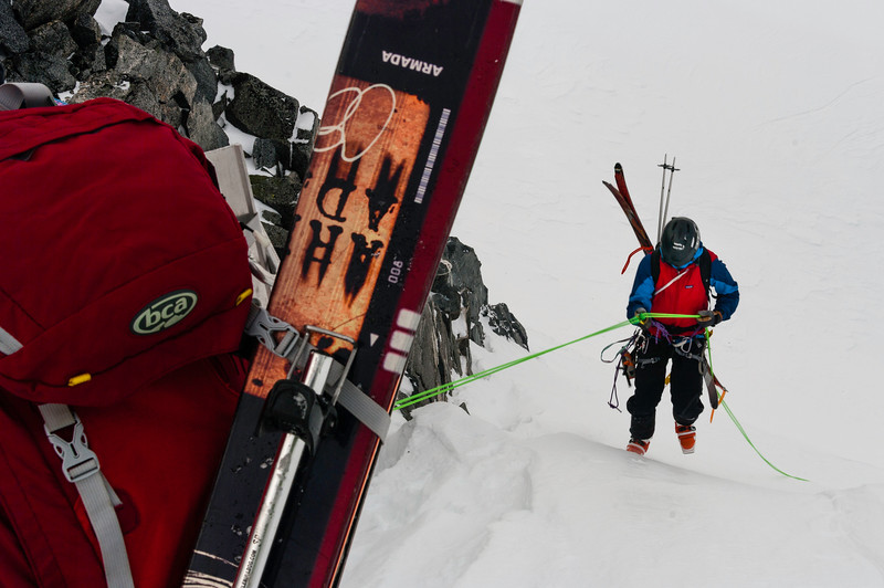 Climber :Vincent Lebrun  Location: Friendship col, Fairy Meadow Hut, B.C.