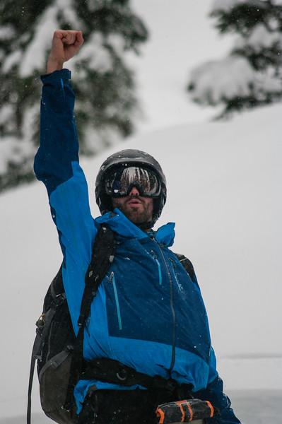 Skier :Vincent Lebrun Location: FAiry Meadow Hut. Pround skier on a pow run.