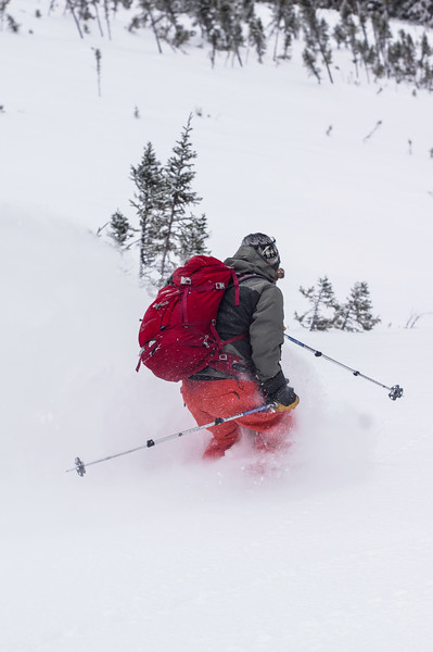 Skier: Patrick Morissette Location : ChicChocs Mountains,  Quebec, Canada. On an epic winter day, the region where the Chic-Chocs Mountains are received more than1.20m (4 feet) of snow in less than 8 hours, covering every inch of the slope with a blanket of white dust.