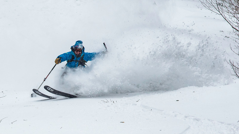 Skier : Pierre Carboneau Location : Mont Saint-Anne, Québec, Québec. A deep 35 cm of new snow arrived, transported by hight wind. All the new snow finished on the north side of th Mountain, for our pleausure.