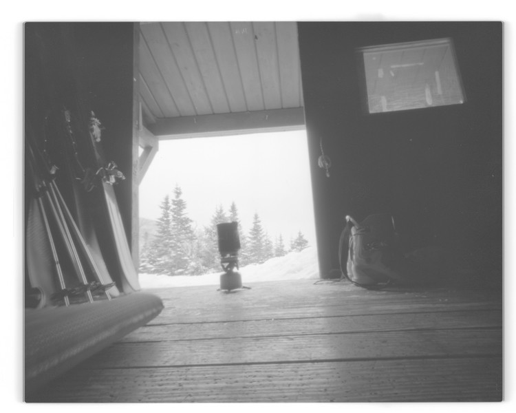 The Pinhole Project                           Location : Mont Washington, N.H., Tuckerman ravine. Camera : Ilford  Herman Pinhole camera, B&W film. I wanted to experience pinhole photo, a really slow process, with an action sport, skiing.  I went for a one week trip with ten sheets of film to capture the skiing done in the Tuckerman. With an aperture of approximately f/213, you have to get creative in order to make rich and inspiring pictures.The result are realy unique. Home sweet home