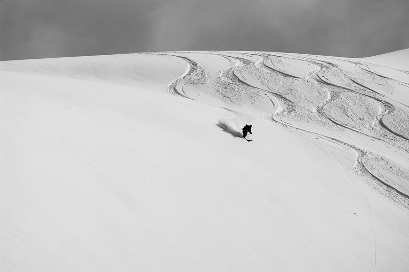 Skier: Vincent Lebrun Location: Roger Col, B.C. Sushine over Roger Pass! Spooning is the only way to enjoy the backcountry.