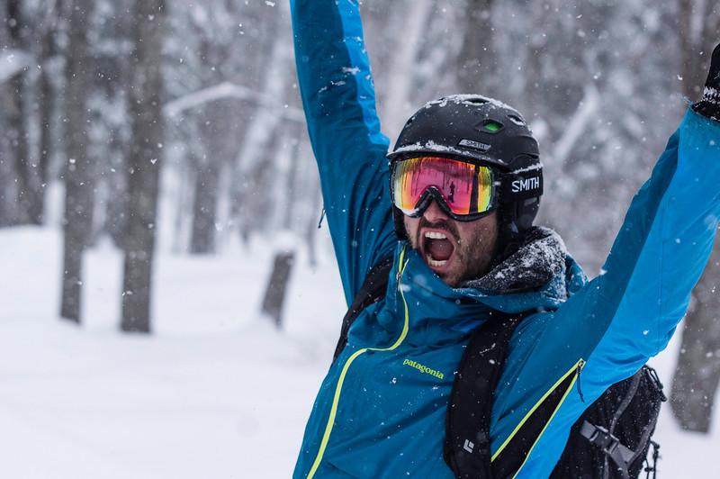 Skier: Vincent Lebrun Location: Le Massif Backcountry, Québec, , Canada Yep, Glory Day!