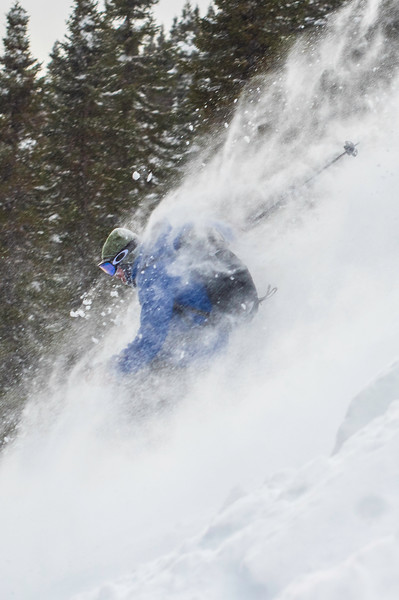 Skier: Julien Desroches  Location: ChicChocs Mountains, Quebec, Canada. On an epic day, the ChicChocs Mountains receive 120cm in 8 hours, covering every inch on the slope with white dust.