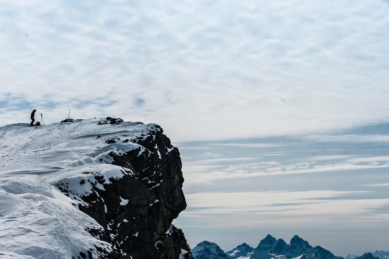 Skier: Vincent Lebrun. Location: Summit of Mont Gordon.